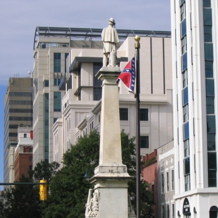 Facing the Confederate Monument and flag from in front of the SC state house, 2006
